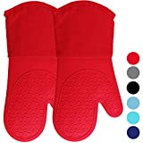 Silicone Oven Mitts with Quilted Cotton Lining -...