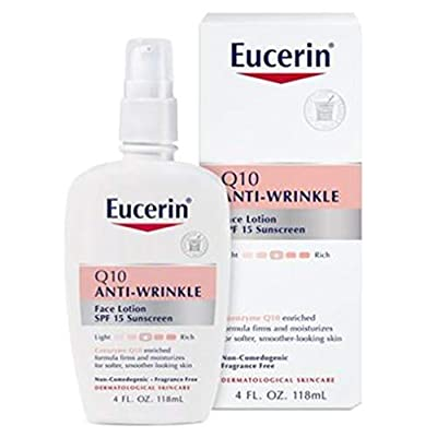 Eucerin Q10 Anti-Wrinkle Face Lotion with SPF 15 - Fragrance-Free, Moisturizes for Softer Smoother Skin - 4 fl. oz Bottle