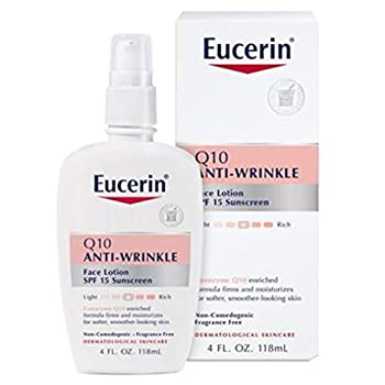 Eucerin Q10 Anti-Wrinkle Face Lotion with SPF 15 - Fragrance-Free Moisturizes for Softer Smoother Skin - 4 fl oz Bottle