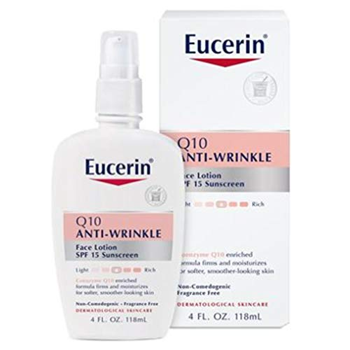41dvy+7ZzvL - Eucerin Q10 Anti-Wrinkle Face Lotion with SPF 15 - Fragrance-Free, Moisturizes for Softer Smoother Skin - 4 fl. oz Bottle