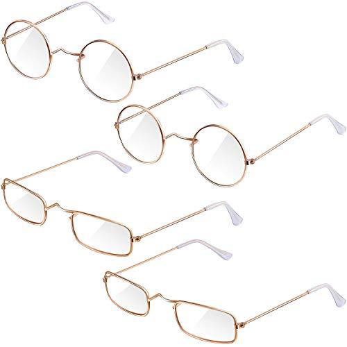 Frienda 4 Pairs Old Man Costume Glasses Gold Santa Eyeglasses Gold Square Round Glasses, Medium