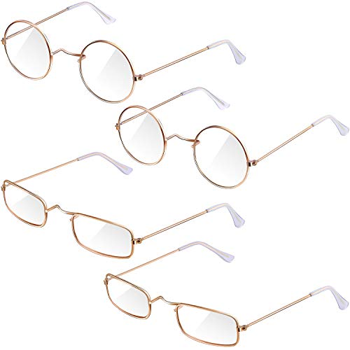 Frienda 4 Pairs Old Man Costume Glasses Gold Santa Eyeglasses Gold Square Round Glasses, Medium