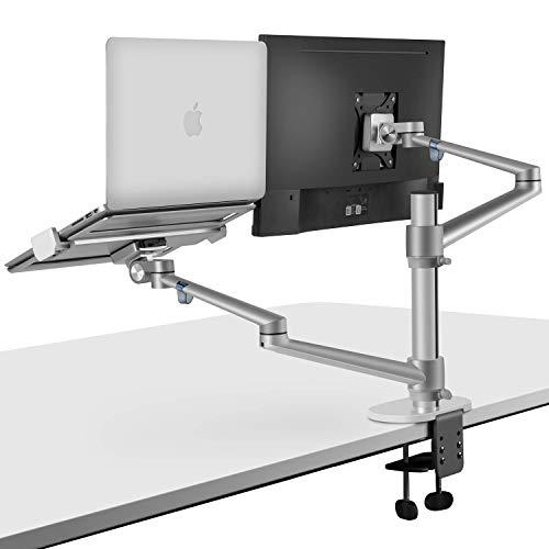 2-in-1 360 Grad drehbarer Doppelarm-Laptopständer für Schreibtisch, Monitorhalterung für Schreibtisch, Workstation Unterstützung 12-17 Zoll Laptop/Notebook/Tablet, Monitor 17-32 Zoll