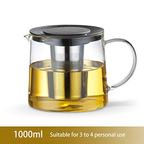 DYTJ-Teekannen Trinkgeschirr-Teeset Borosilikatglas Pot, Transparenter Gerader Feuertopf, Beheizbarer Filter Inneres Teeset Flower Puer Kettle Kaffeekanne, 1000Ml