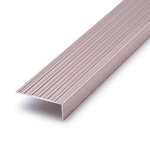 Borde De Borde de Escalera Antideslizante 2 PCS 1.5 M longitud en forma de Les de aluminio en forma de lijado anti-patín 50x20mm ángulo Ángulo anti-colisión de escaleras Nariz del Borde de la Escalera