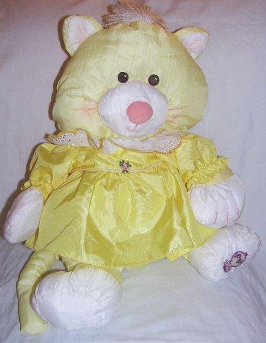 1986 Fisher Price Puffalumps 16' Yellow Puffalump Kitten in Yellow Dress