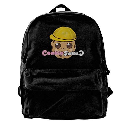 Haloxa Alta capacità di viaggio regolabile della spalla della tela della borsa di scuola della tela di canapa dello zaino di turbinio del biscotto