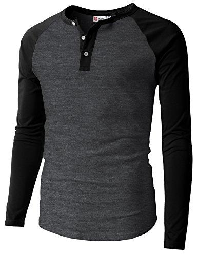 H2H Men's Alpaca Wool Crewneck Sweater Henley T-Shirts CHARCOALBLACK US 3XL/Asia 4XL (CMTTL077)