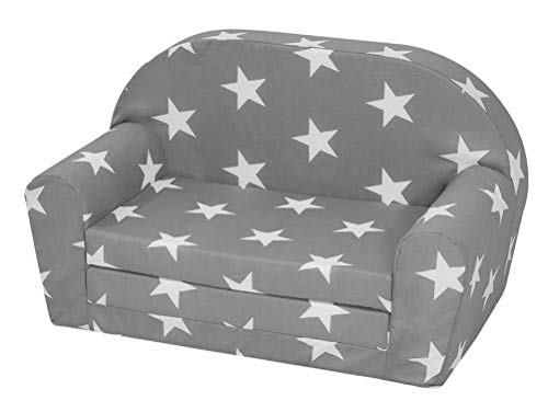 Dynamic24 Kindersofa ausziehbar grau Kindercouch Sofa Couch Kinderzimmer Möbel Gästebett