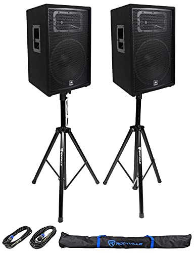 """JBL Pro JRX215 Passive DJ P/A Speaker Cabinet Bundle with Rockville RCTS1425 25' 14 AWG 1/4"""" TS to Speakon Speaker Cable and Pair RVES1 Tripod PA Speaker Stands"""