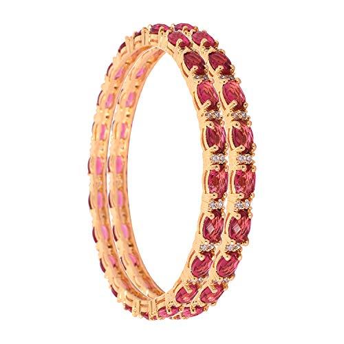 Ratnavali Jewels CZ Zirkonia Gold Tone Red Diamond Bollywood Hochzeit Armreifen Indischer Schmuck Frauen
