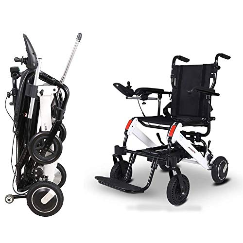 FTFTO Home Accessories Elderly Disabled Electric Wheelchair Folding Intelligent Light Automatic Aluminum Alloy Disabled Elderly Elderly Scooter Folding Powerchair
