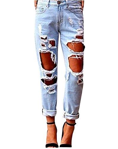 MISSMAO Damen Jeans Basic Skinny High Waist Löchern Boyfriend Jeanshosen Denim Hosen Hellblau M
