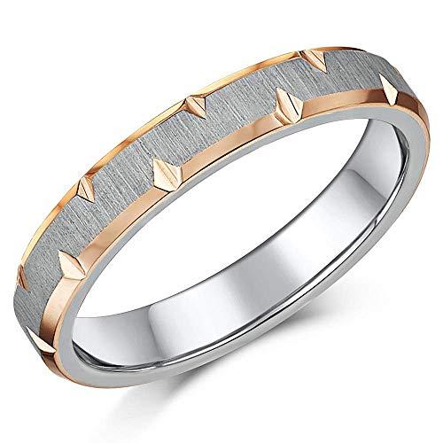 Titanium Two Tone Wedding Ring IP Rose Gold and Titanium Two Colour Ring 4mm 5mm 6mm 7mm (4mm, M)