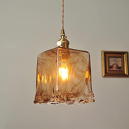 Zenghh Vintage Amber Araña Ajustable Interruptor ajustable Aldea Rural Americana Colgante de techo Iluminación de cristal espesado Linterna Hollow Base Base Accesorios para la Biblioteca de Librería C