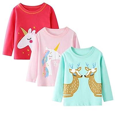 Camiseta de Manga Larga para niñas, Camisetas Casuales de algodón, Camisetas de Unicornio con gráficos cálidos, Paquete de 3, tamaño 6