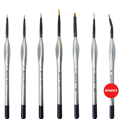 fire in me Miniature Paint Brushes Set 6pcs + 1 Free - Best Find Detail Paint Brushes Model Paint Brush Set - Small Tiny Oil Watercolor Acrylic Brushes Hobby Art Supplies