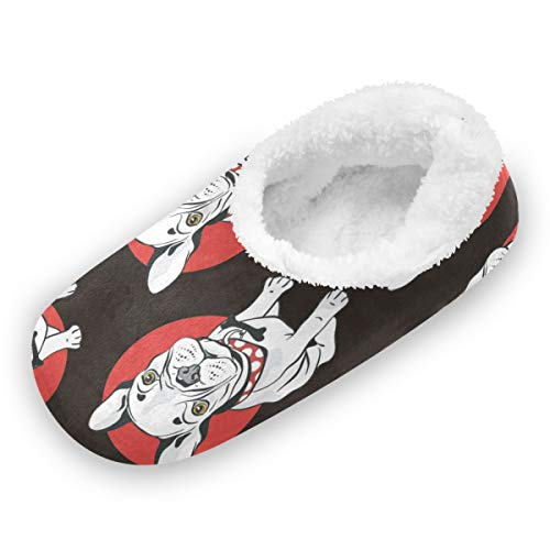 Unisex Fuzzy Feet Slippers Washable Home Shoes Slippers French Bulldog Black House Socks Floor Socks Comfy Close Toe Slippers Bedroom Shoes for Adult Size 9-10