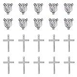 PandaHall 20 colgantes de cruz de acero inoxidable con 20 lámparas ovaladas a la izquierda para rosario