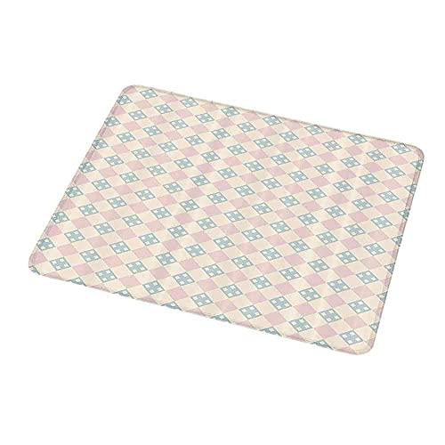 Design Gaming Mauspad Shabby Chic, Kariertes Muster mit quadratischen Motiven Pastellfarben Vintage Fliese, Creme hellrosa hellblau für Kinder