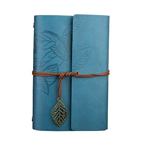 Wenosda Nachfüllbar Notebook/Tagebuch/Album/Sketchbook mit PU-Leder-Abdeckung Blätter Muster (Hellblau, 7.3 × 5.2 Zoll, 185 * 130mm)