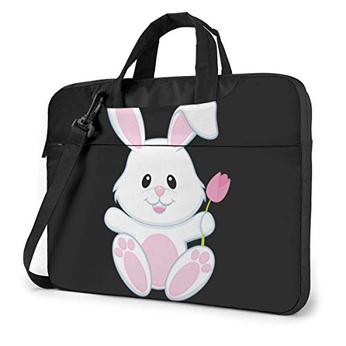 Small White Bunny Unisex Laptop Bag Messenger Shoulder Bag for Computer Briefcase Carrying Sleeve