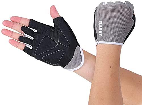 Guantes sin dedos para hombre y mujer, guantes de entrenamiento para culturismo, gimnasio, fitness, MTB, mitones, color gris/M