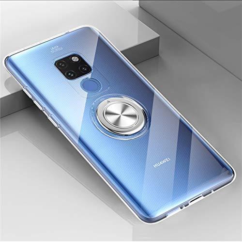 Kompatibel mit Huawei Mate 20 Lite Hülle Huawei Mate 20 Pro Silikon-Weiche Handyhülle Stoßfest Kickstand 360 Grad Handy Backcover Magnetische Autohalterung Anti-Rutsch Schutz (Durchsicht, Mate 20 Pro) - 2