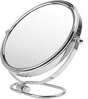 Desktop Makeup Vanity Mirror, Two-Sided Beauty Mirror 3X Magnification Cosmetic Mirror 360° Swivel Bathroom Mirror Portable,Silver_8inch, Bathroom