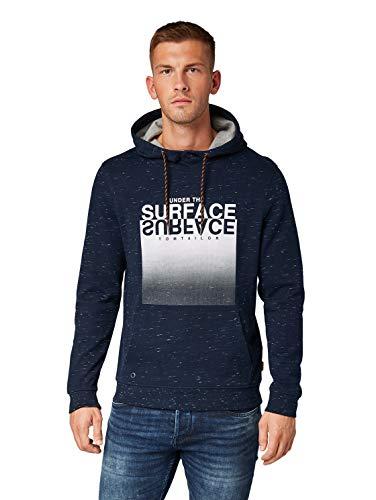 TOM TAILOR Herren Bedrucktes Sweatshirt, Blau (Navy Streaky Grindle 19924), XL