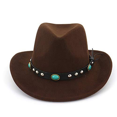 no-branded Jzjeur Hombres Mujeres Sombrero de Vaquero Occidental con cinturón Punk Sombrero Sombrero de ala Ancha (Color : Drak Coffee, Size : 56-58)