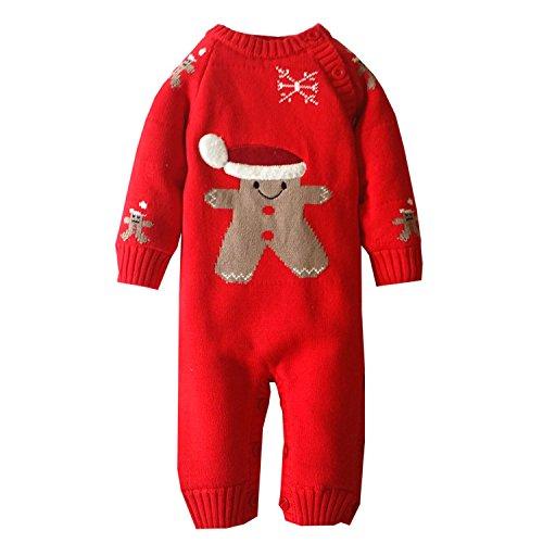 Unisex Tutine Neonato Maglione Bambino Maglioni Cardigan Bimba Tutina Pagliaccetto Giacca Natale Maglione (Rosso, 6-12Mesi)
