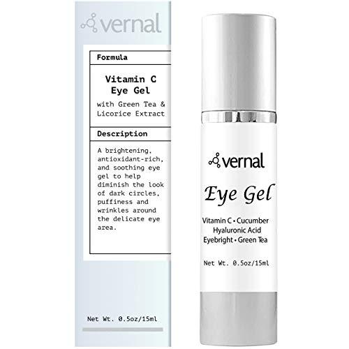 Vernal Eye Gel Treatment- Antioxidant Rich- Vitamins C and K, Glycerin, Cucumber, Eyebright, Collagen, and Green Tea – Diminish Dark Circles, Puffiness and Wrinkles- Best Under Eye Cream-Brighter Eyes