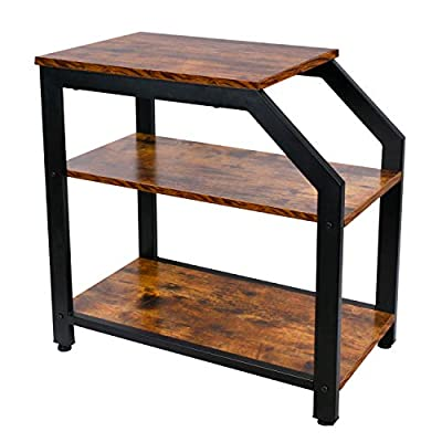 Industrial End Table, 3-Tier Nightstand with Storage Shelves, Side Table, Printer Stand Wood Look Accent Furniture Metal Frame