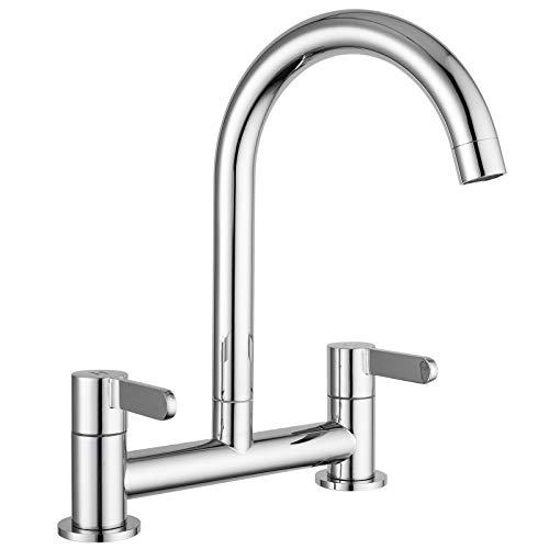 Kitchen Sink Mixer Taps 2 Hole Deck Mounted Dual Lever Kitchen Tap 360 Degree Swivel Spout Chrome FRUD