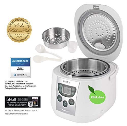 KeMar Kitchenware Reiskocher, Multikocher, BPA-frei, Dampfgarer, Edelstahl Dämpfeinsatz, (790W, 1,8 Liter, Modell 2020), 3 Auto Programme, 3 manuelle Programme