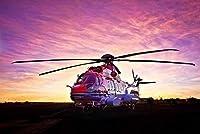 DIY 5D ダイヤモンドペインティングキット大人と子供用 16インチ x 20インチ ヘリコプターの着陸 丸い形フルドリル クリスタルラインストーン刺繍アート クラフトキャンバス クロスステッチ ホームウォールデコレーション