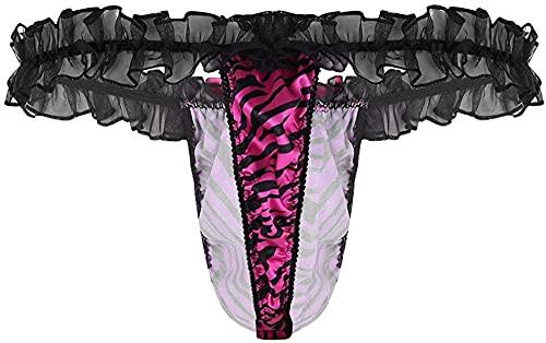 YXYSHX Lencería Sexy Hombres Lencería Bragas Tela Raya Cintura Baja Ropa Interior de Encaje Bikini de Corte Alto Calzoncillos Erotic-Rose_Large
