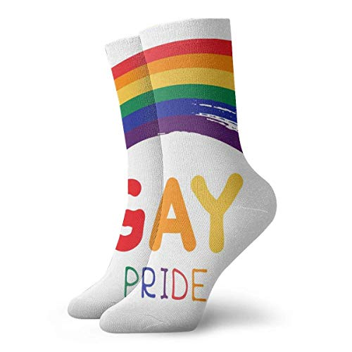 Grunge Gay Rainbow mit Schriftzug, isoliert, weiß, lange Socken, weich, warm, 1 Paar für Damen und Herren, 30 cm