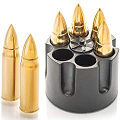 🏆ONE AND ONLY GOLDEN ONES ON THE MARKET - Your Awesome Gold Whiskey Bullets by Amerigo Will Arrive in a Premium and Original Freezer Base That Looks Exactly Like a Revolver, Adding to the Overall Experience and Enabling You Cool Down Your Whiskey Roc...