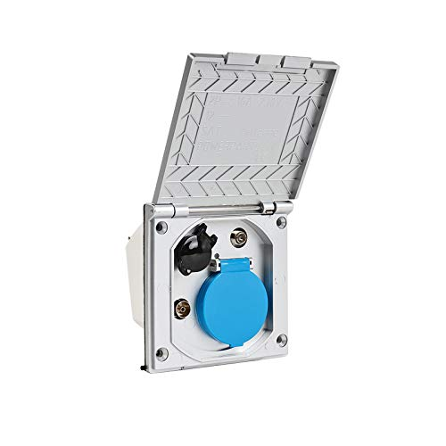 CEE Multi Aussensteckdose 240V | 12V | Antenne | Satellit | IP44 ideal für Wohnwagen, Wohnmobil oder Campingbus (silber)
