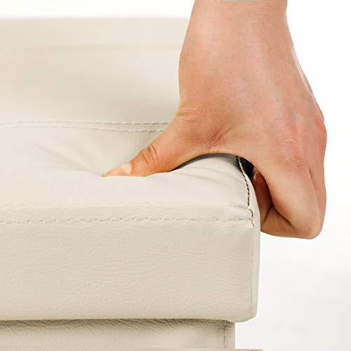 SONGMICS Sitzhocker Sitzbank mit Stauraum faltbar 2-Sitzer belastbar bis 300 kg Kunstleder beige 76 x 38 x 38 cm LSF40M - 5