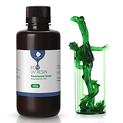 ANYCUBIC 3D Printer Resin Plant Based 405nm UV Rapid Photopolymer Resin, Low Smelling Resin for Photon/S LCD/DLP/SLA 3D Printer (Transparent Green, 500g)