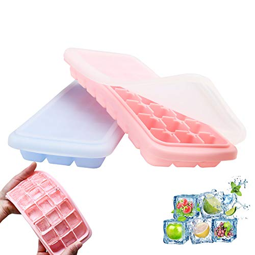 Cairondin Ice Cube Trays with Lids 2 Pack, 24 Silicone Flexible Ice Trays BPA Free, Easy Release, Stackable Ice Cube Molds with Covers for Chilled Drinks, Whiskey and Cocktails