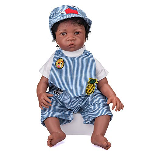 Realistic Black Reborn Toddler Dolls Boy 24 Inches Real Looking Soft Silicone Limbs and Head Soft Cloth Body African American Weighted Body Cute Baby Dolls Best Gift for Age 3+