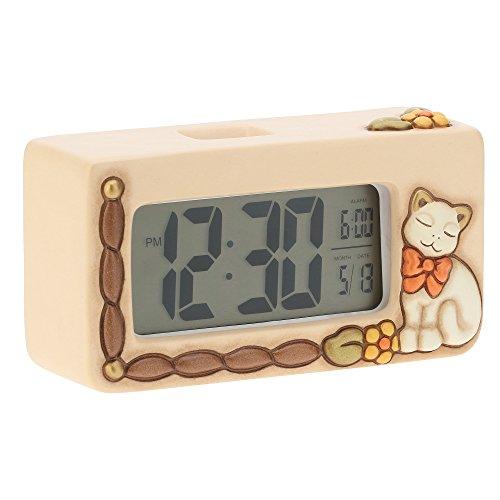 THUN - Orologio Digitale con Gatto - Complementi d'Arredo, Living - Idea Regalo - Linea Country - Ceramica, Meccanismo Digitale - 17 cm l