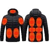 QWEZXCMI Chaquetas climatizadas para Hombres, 2022 Invierno 11 Áreas Hombre USB Abrigo de calefacción eléctrica Viaje al Aire Libre Cierre de Abrigo Abrigo Outwear Chaquetas de Capucha,M