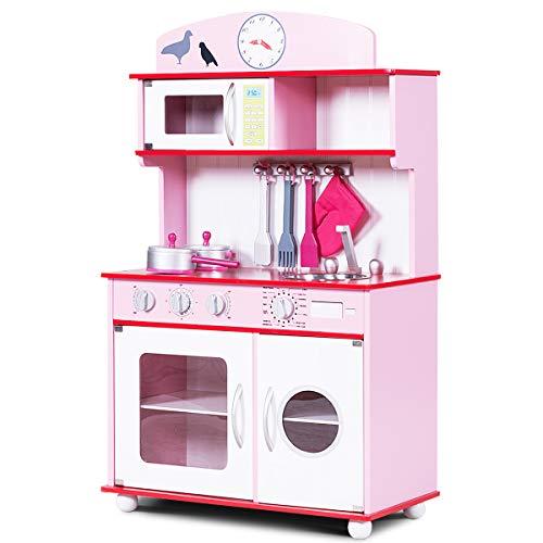 COSTWAY Kinderküche mit Ofenhandschuh und Holzkochgeschirr, Spielküche mit großem Stauraum, Kinderspielküche, Spielzeugküche für Kleinkinder (Rosa)