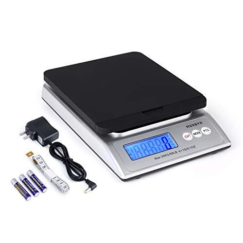 MUNBYN Báscula Postal Digital para Envío, 66 lb x 0,1 oz con Adaptador de CA, 1,5 V x 3 AAA y Cinta Métrica Suave, 0,74 kg (Negro + Plateado)