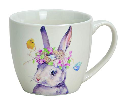 Taza de porcelana con diseño de conejo, 350 ml, ideal como regalo